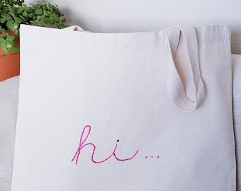 HI! Hand-Embroidered Canvas Tote