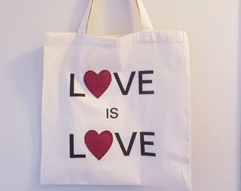 Love is Love Vegan Leather Heart Hand-Stitched Cotton Tote