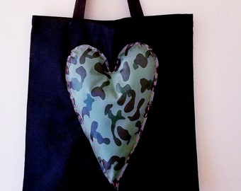 Camo Vegan Leather Hand-Embroidered Heart and Canvas Tote