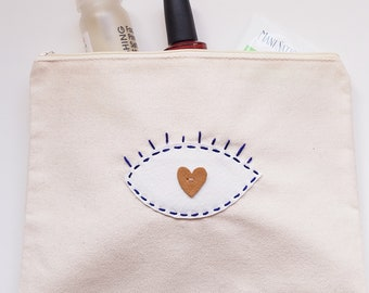 LOVING EYE Hand-Embroidered Vegan Leather and Canvas Zipper Pouch