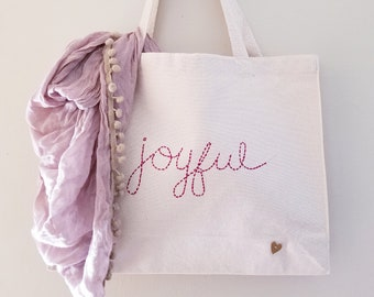 JOYFUL Hand-Embroidered Personalized Canvas Tote