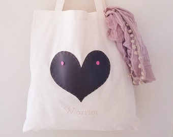 Breast Cancer 'Warrior Love' Vegan Leather and Canvas Tote Bag