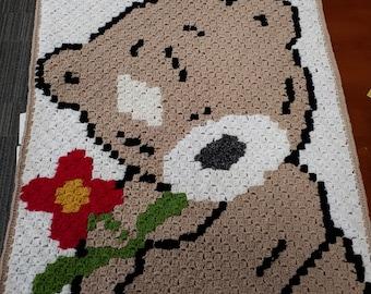 Beautiful baby bear crochet blanket with pink flower