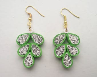 White and green chandelier earrings