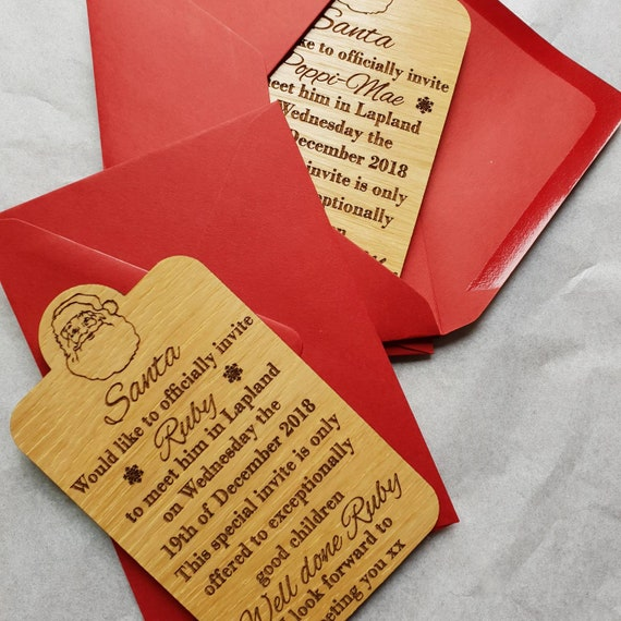 wooden personalised invitations to see santa in lapland etsy