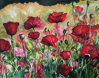 Poppy Field Painting - Original Art Print