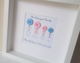 Family Tree / Family Stickman Frame / Family Gift / Family Box Frame