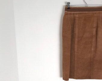 e62a79d083d79 Daim camel vintage midi droite crayon jupe avec taille haute   xs   s    1970 s