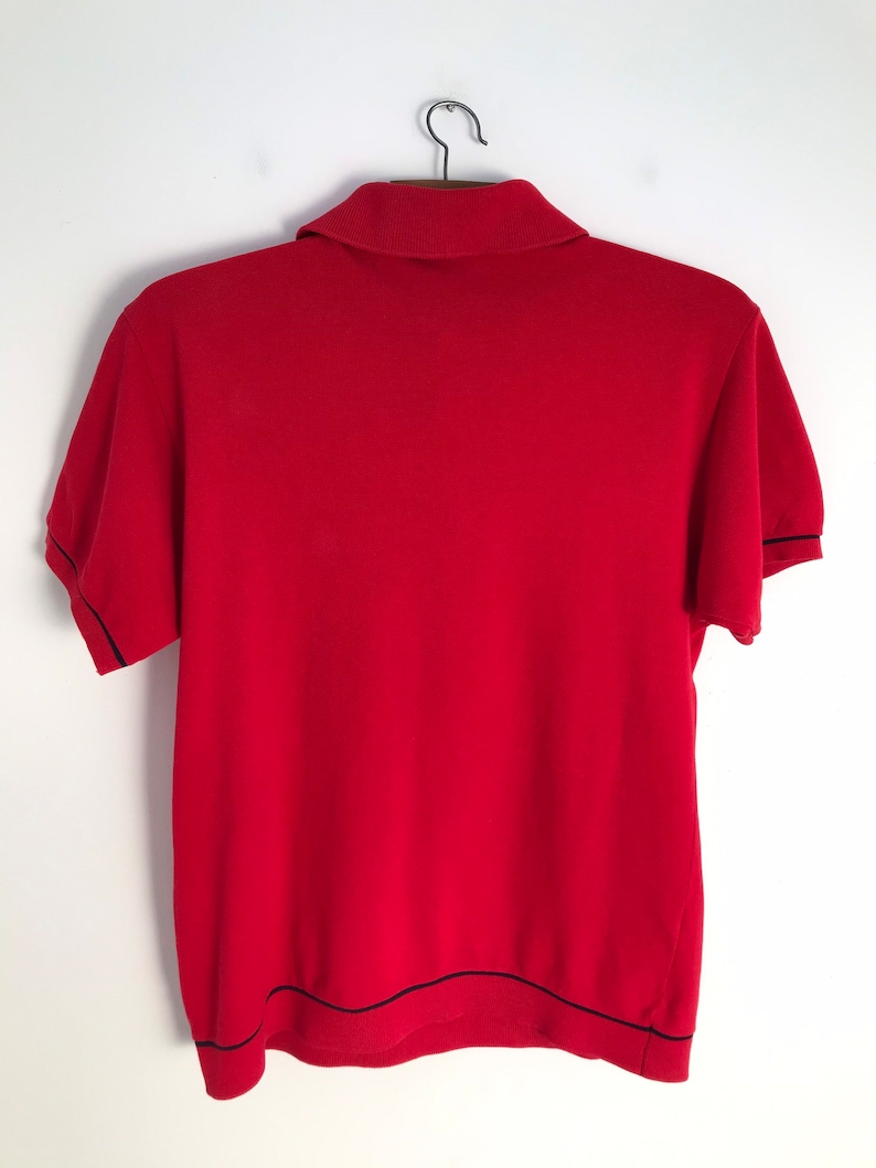 LACOSTE vintage red polo top with short sleeves and button down collar  s  1990s