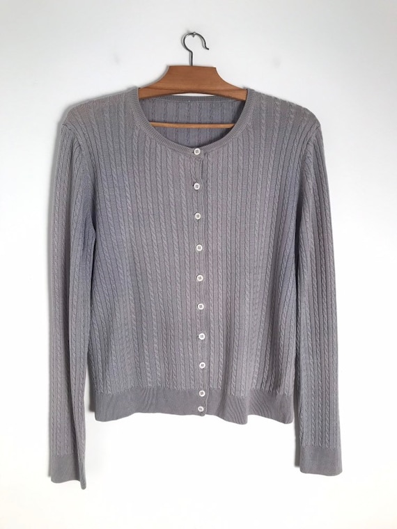 Vintage silver cable knit button down cropped car… - image 2