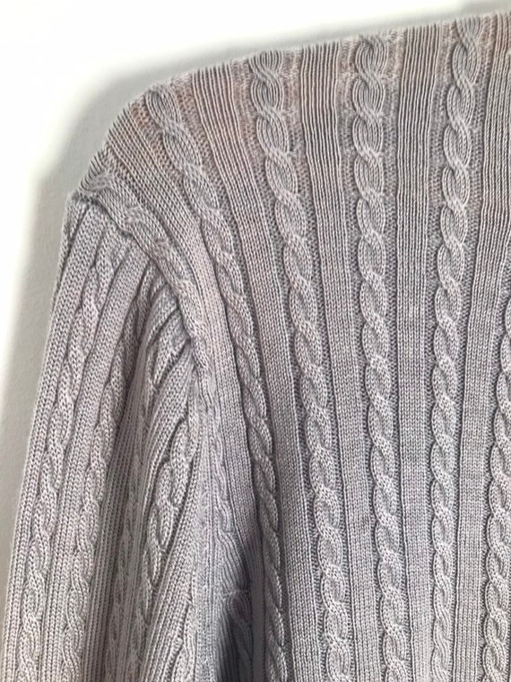 Vintage silver cable knit button down cropped car… - image 5