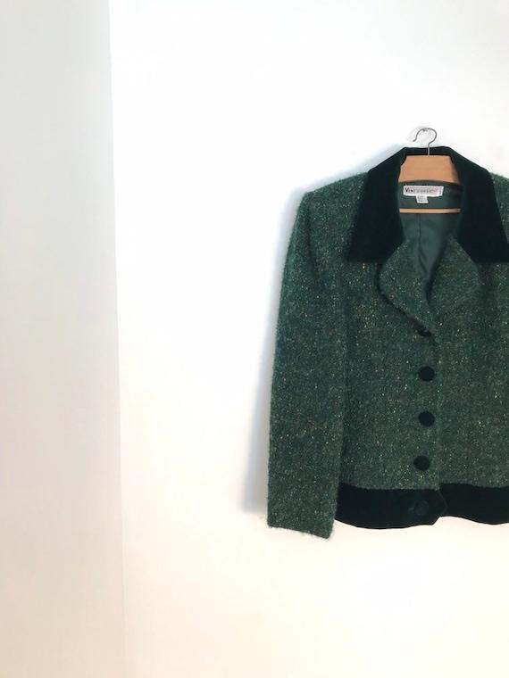Vintage heather green tweed button down woolen bla