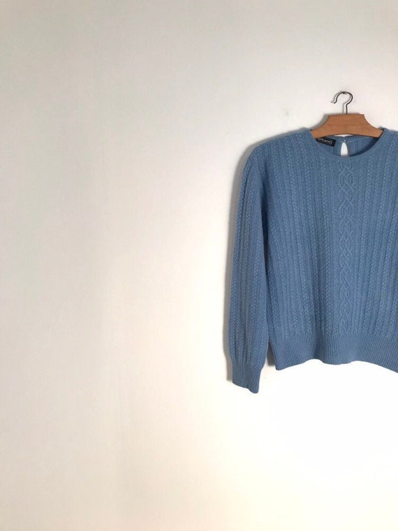 CACHAREL vintage lavender blue cable knit sweater