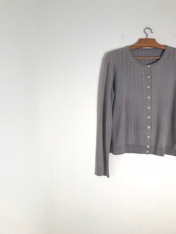 Vintage silver cable knit button down cropped card