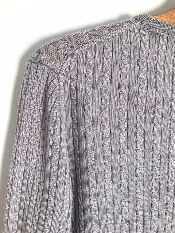 Vintage silver cable knit button down cropped car… - image 8