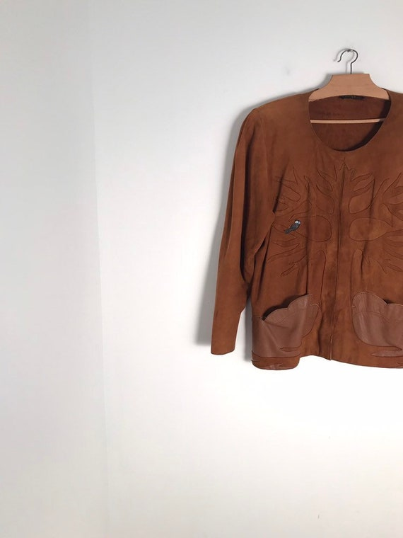 Vintage french camel suede leather button down jac