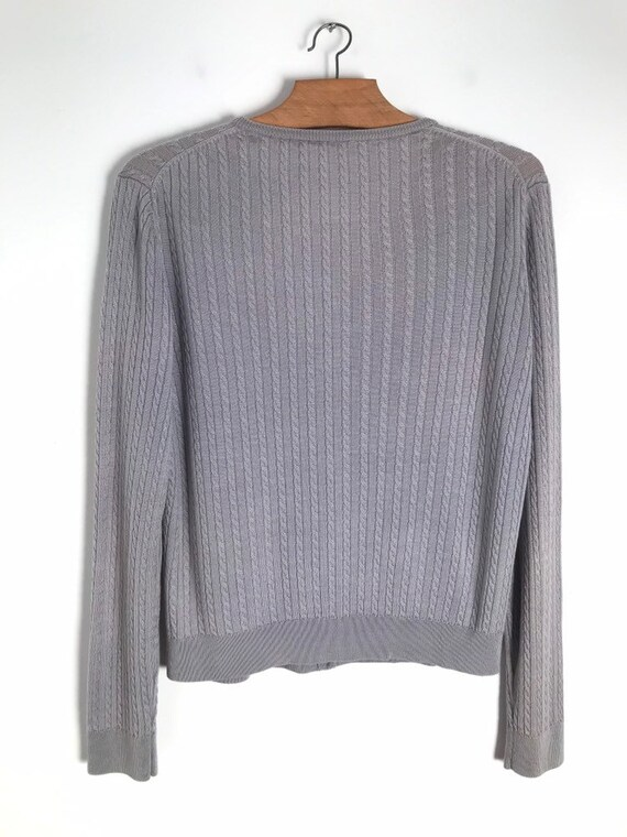 Vintage silver cable knit button down cropped car… - image 7
