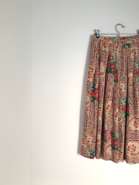 Vintage floral and paisley pleated midi skirt with