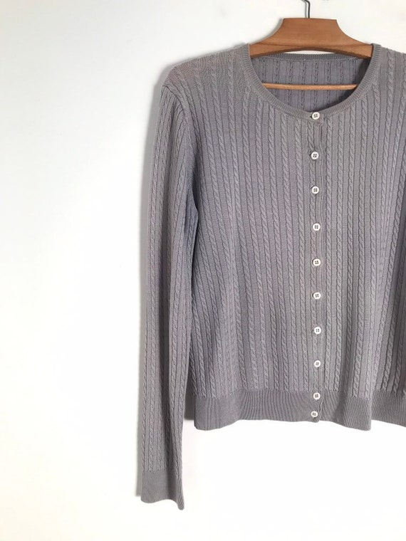 Vintage silver cable knit button down cropped car… - image 3