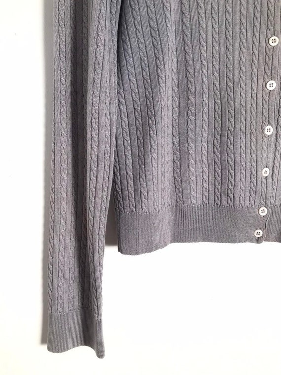 Vintage silver cable knit button down cropped car… - image 6