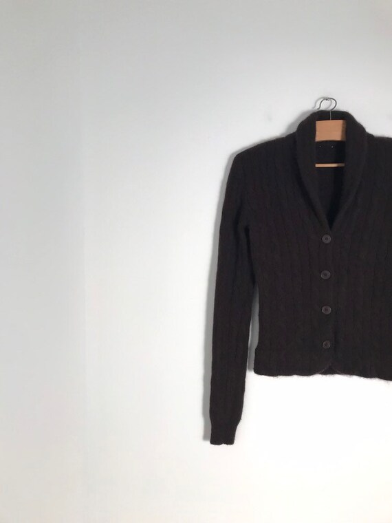 Vintage french button down chocolate brown cable k