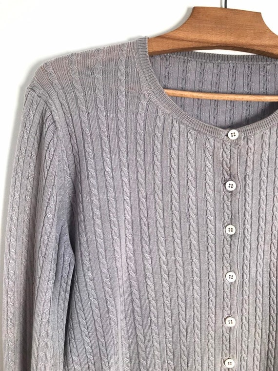Vintage silver cable knit button down cropped car… - image 4
