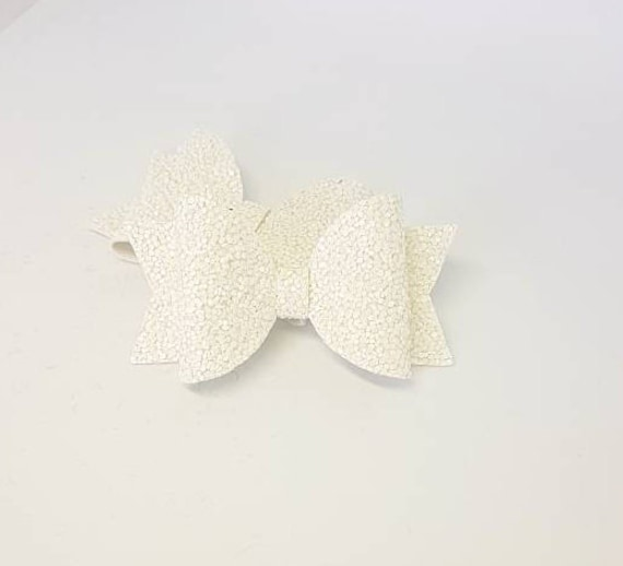 "Wedding Flower Girls Holy Communion 3.5"" Girls White Hair Bow Bobble White Bow"