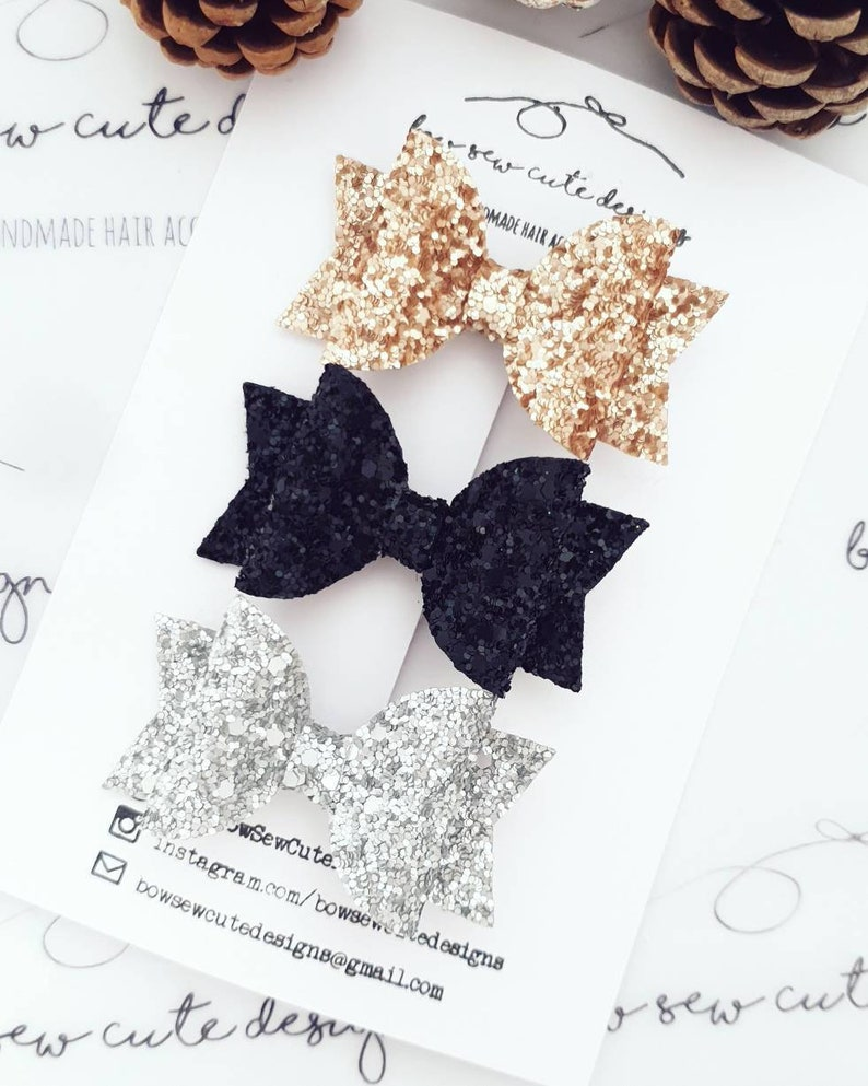 black gold and silver bow set glitter bows bow set set of girls bows set of girls hair bows Glitter bow set