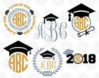 Graduation monogram, class of 2018 svg, graduation svg, cutting files, circle monogram, graduation svg, digital cute file, graduation cap 02