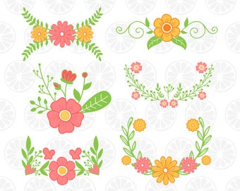 Floral Swag svg, flowers monogram, flower for silhouette, flower clipart, wreath bouquet svg, instant download, Floral Swag monogram 08
