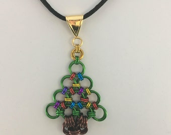 Christmas Tree, Holiday, Pendant Chainmaille Japanese Weave