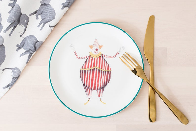 Circus Clown Fine Bone China Plate