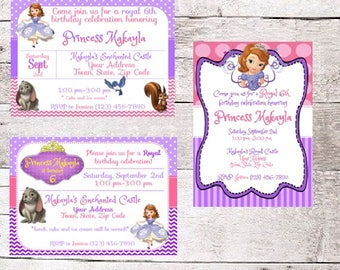 Sophia The First PERSONALIZED birthday party invitations / 3 different style options / different size options / FREE shipping / 15 invites!
