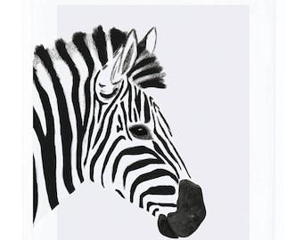 Baby Nursery Art print Zebra Black and White