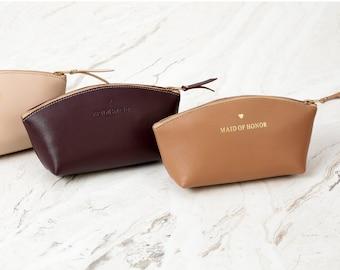 Leather makeup bag bridesmaid gift makeup organizer cosmetic bag, makeup case, make up bag gift for women personalized makeup bag