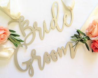 Laser Cut Chair Signs 'Bride' 'Groom' Calligraphy Script/Wedding/Bridal Shower/Engagement