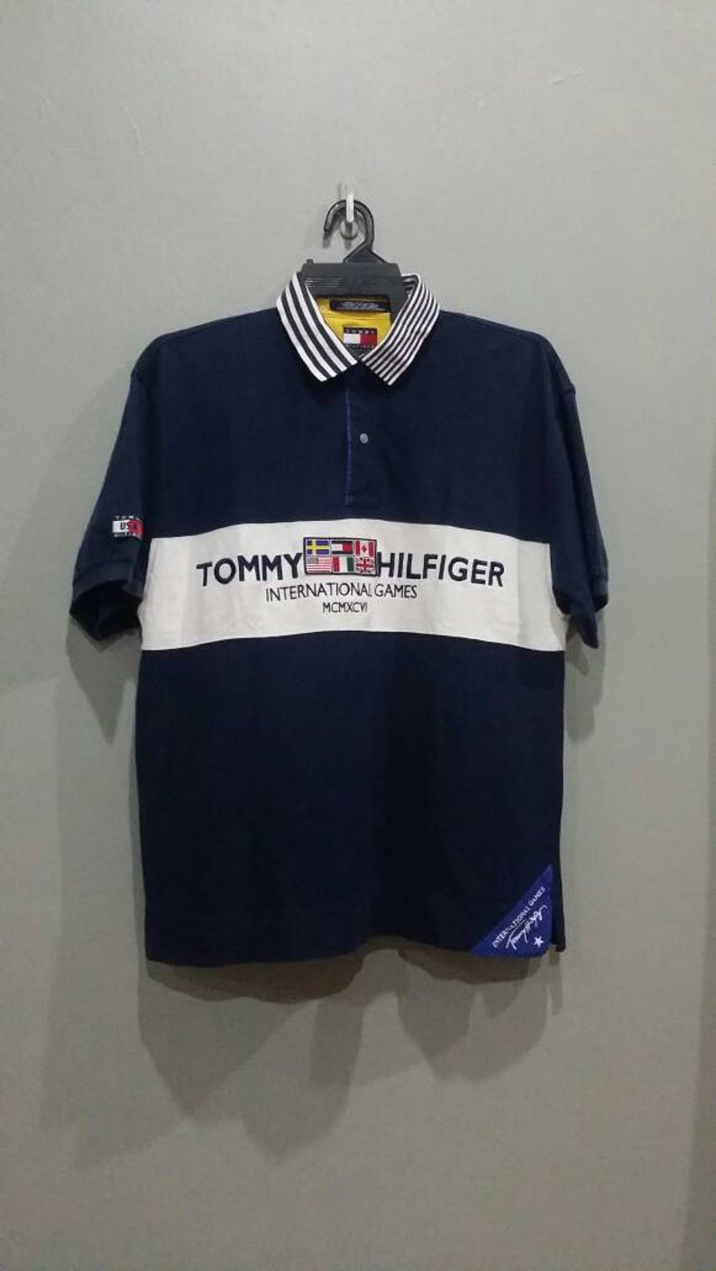 63067b51c 90s Tommy Hilfiger International Games Short Sleeve Vintage | Etsy