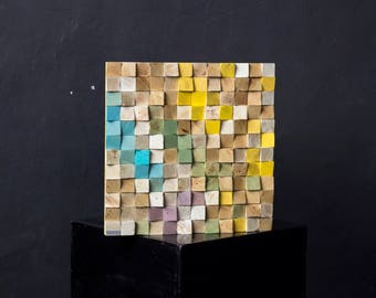 Free Shipping. Wood wall art, Reclaimed Wood Art, Mosaic wood art, Geometric wall art, Wooden art, Wooden panel