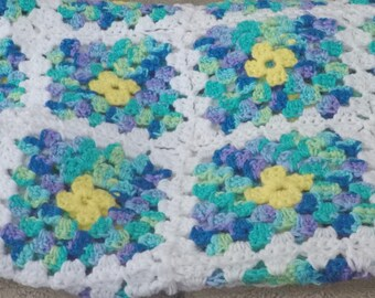 Variegated Blue Crocheted Granny Square Afghan 44 x 50 inches