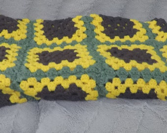 Sunflower Acrylic Granny Square Afghan - 50 x 50 inches