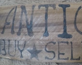 Rustic Wooden Stenciled Antiques Sign - Antiques - Buy - Sell - Trade