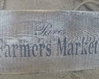 Wooden Stenciled Market Sign - Paris Farmers Market