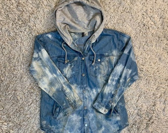 Ladies L Up-Cycled Hand Tie Dyed DenimCotton Shirt