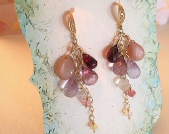 Pink multi gemstone gold filled earrings