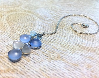 Holy blue chalcedony, white moonstone and sky blue topaz necklace in sterling silver