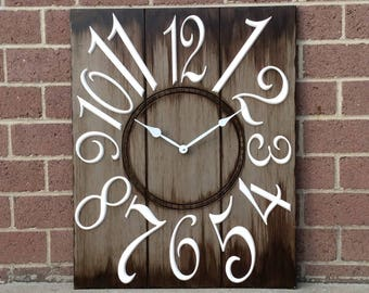 "24"" x 30"" Brown and White Wall Clock"