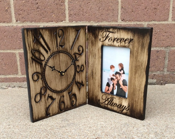 "Personalized 4""x 6"" Picture Frame and Clock Wedding Gift"