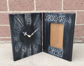 """Personalized 4""""x 6"""" Picture Frame and Clock Wedding Gift"""