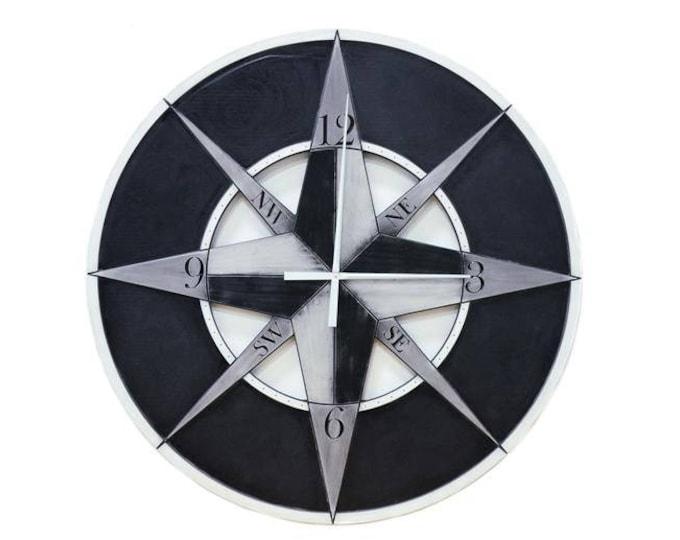 "48"" Compass Wall Clock, Custom Wall Clock, Compass Wall Clock, Oversized Wall Clock, Large Wall Clock, Wall Clock"