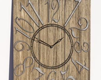 Rustic Light Brown and Silver 18x24 Inch Wall Clock